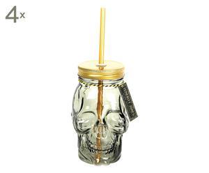 """Sada 4 sklenic s brčkem """"Skull"""", Ø 9, výš. 15 cm"""
