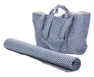 """Sada plážové tašky a podložky """"Stripes Blue"""", 51 x 20 x 34 cm"""