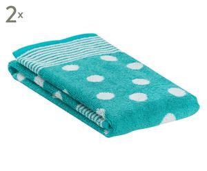 "Sada 2 ručníků ""Dots Aqua"", 50 x 100 cm"