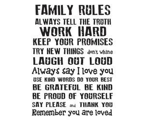 """Nástěnná samolepka """"Family Rules"""", 40 x 60 cm"""