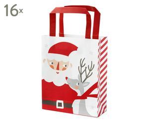 """Sada 16 dárkových tašek """"Santa"""", 16 x 4 x 25 cm"""