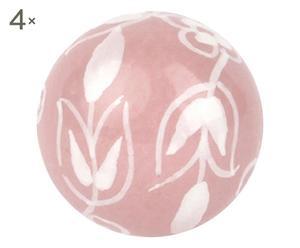 """Sada 4 úchytek """"Pink Farmer Flower"""", Ø 4, dél. 6 cm"""