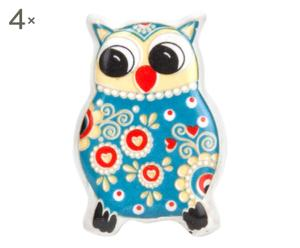"""Sada 4 úchytek """"Owl Blue"""", 6 x 4 cm"""