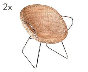 "Sada 2 židlí ""Batavia Natural"", 58 x 57 x 89 cm"