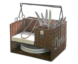 """Organizér na nádobí a příbory """"Rustic Ratan"""", 25 x 31 x 23 cm"""