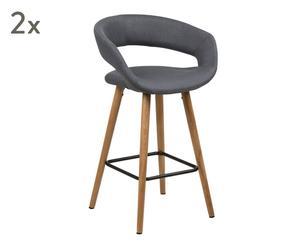 "Sada 2 barových židlí ""Counter Dark Grey"", 43 x 56 x 87 cm"