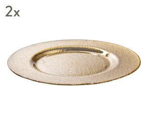 "Sada 2 dekorativních talířů ""Natural Gold"", Ø 32 cm"