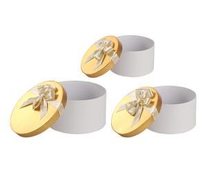 """Sada 3 dekoračních krabiček """"Flake White"""", Ø 24, výš. 13 cm"""