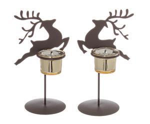 """Sada 2 svícnů na čajové svíčky """"Burnished Deer"""", 14 x 2 x 23 cm"""