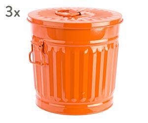 """Sada 3 odpadkových košů """"London Orange"""", 18 x 22 x 21 cm"""