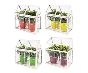 """Sada 4 miniskleníků s květináči """"Nizza"""", 15 x 29 x 29 cm"""