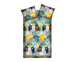 "Komplet pościeli ""Houses Pink"", 140 x 200/220 cm"