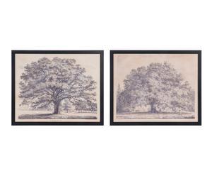 """Sada 2 nástěnných dekorací """"Trees"""", 53 x 3 x 43 cm"""