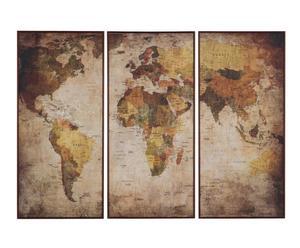 """Nástěnná dekorace """"World Map"""", 78,5 x 2 x 36,5 cm"""
