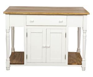"Kuchyňský ostrůvek ""Basilio White"", 88 x 130 x 80 cm"