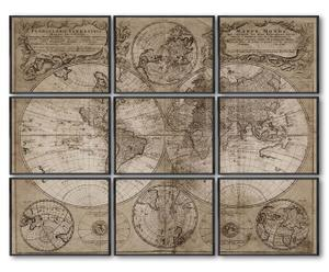 "Sada 9 nástěnných dekorací ""Map of the world II"""
