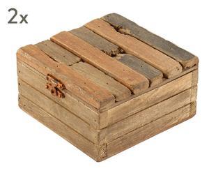 """Sada 2 krabiček """"Felicidad"""", 12 x 12 x 6,5 cm"""