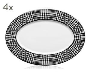 """Sada 4 talířů """"Bergdorf, 22 x 30 x 1,5 cm"""
