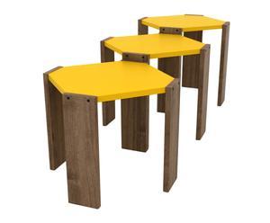 """Komplet 3 stolików """"Hansel Yellow"""", 44 x 44 x 41 cm"""