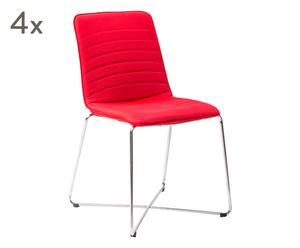 "Sada 4 židlí ""Alfa Rossa"", 59 x 52 x 84 cm"