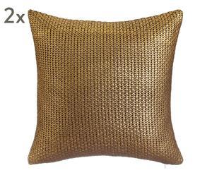 "Sada 2 dekoračních polštářů ""Glamour Gold & Brown"", 45 x 45 cm"