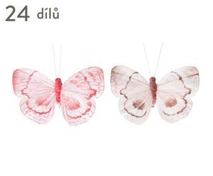 """Sada dekoračních motýlků """"Spring"""", 24dílná, 9,5 x 5,5 x 1,5 cm"""