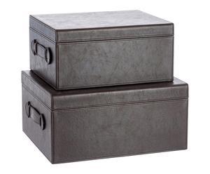 """Sada 2 krabiček  """"Brown Leather"""""""