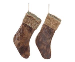 """Sada 2 závěsných vánočních dekorací """"Socks Brown"""", 22 x 2 x 44 cm"""