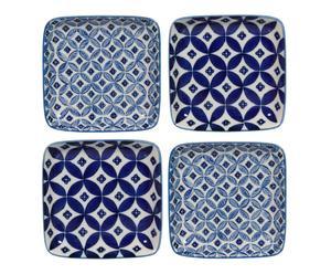"""Sada 4 dezertních talířů """"Indigo"""", 12,5 x 12,5 x 2 cm"""