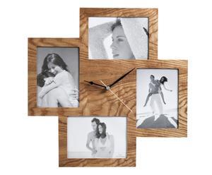 """Nástěnný multirámeček s hodinami """"Collage Natural"""", 5 x 44 x 44 cm"""