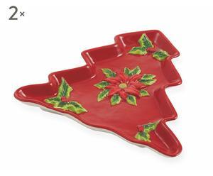 """Sada 2 dekorativních talířů """"Rosso"""", 20 x 21 x 2,5 cm"""