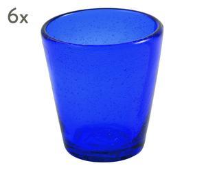 "Sada 6 sklenic ""Cancun Blue"", Ø 9, výš. 10 cm"