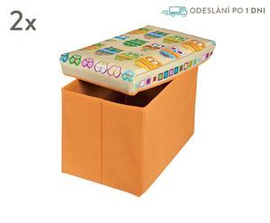 "Sada 2 úložných boxů ""Taburet Orange"", 31 x 49 x 31 cm"