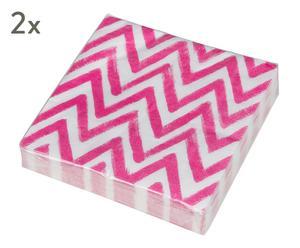 "Sada 2 balení ubrousků ""Zigzag"", 33 x 33 cm"