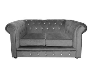 "Sofa 2-osobowa  ""Chesterfield Grey II"", 73 x 155 x 90 cm"