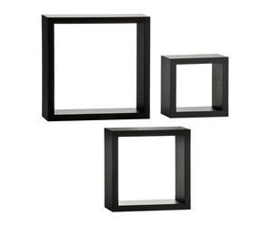 """Komplet 3 półek ściennych """"Cubes Black"""""""