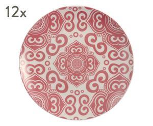 "Sada 12 dezertních talířů ""Etnochic Bordeaux"", Ø 19, výš. 2 cm"