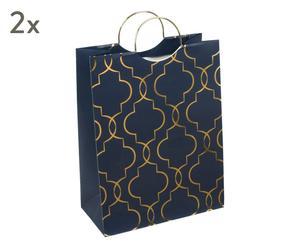 "Sada 2 dárkových tašek ""Navy Blush"", 12,5 x 25,5 x 33 cm"
