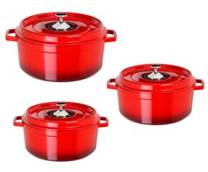 Suppentöpfe-Set Cocotte, 3-tlg., rot