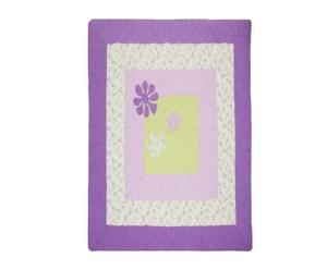 Patchwork-Tagesdecke FLOWER AND SQUARE, klein