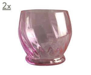 Windlicht-Set Rosa, 2 Stück, 10 x 9 cm
