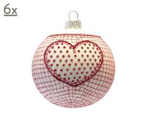 Handgefertigte Glaskugeln Heart, 6 Stück, weiß/rot, Ø 10 cm