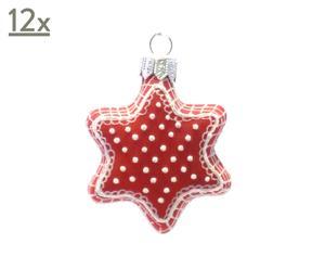 Handgefertigte Glassterne Star, 12 Stück, rot/weiß, Ø 6 cm