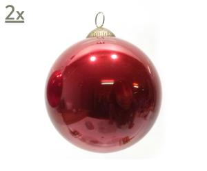 Handgefertigte Glaskugeln Red, 2 Stück, Ø 13 cm