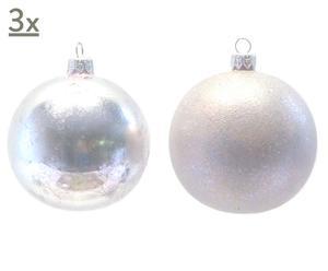 Handgearbeitete Glaskugeln Glimmer, 6 Stück, silberfarben/helllila, Ø 10 cm