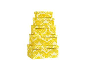 Boxen-Set Yellow Ornament, 5-tlg.