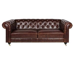 Leder-Dreisitzer-Sofa DAVINA, braun
