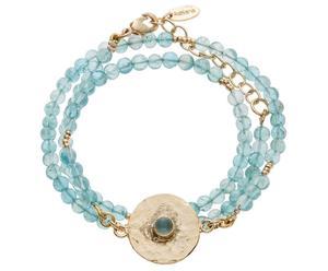 Vergoldetes Wickelarmband Havanna mit Chalzedon-Perlen