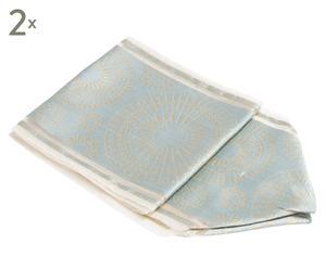 Tischbänder Zuoz, 2 Stück, türkis/goldfarben, 18 x 150 cm