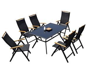 Gartenmöbel-Set Calvin mit klappbaren Stühlen, 7-tlg.